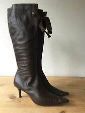 L.K. BENNETT LADIES BROWN LEATHER KNEE HIGH BOOTS UK4