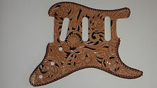 "Leather pick guard Custom Hand Tooled Leather Stratocaster ""Floral Riffs"" Laced"