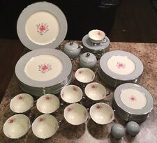 Flintridge China 10 Ppl 56 Pc Rose Grey Platinum Rim Vintage Dish Plates Set WOW