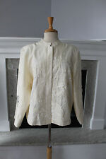 NORM THOMPSON Stunning Cream Silk Embroidery Lace Jacket Top Shirt XL