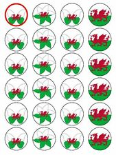 X24 WALES / WELSH DRAGON FLAG CUP CAKE TOPPER DECORATIONS ON EDIBLE RICE PAPER