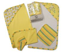 Pack of 4 Baby Bath Set Gift - Hooded Towel and Wash Cloth Set Lemon
