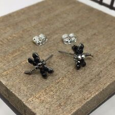 Black Dragonfly Crystal Titanium Post Stud Earrings US Seller Made in Korea