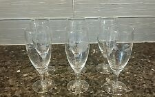 6 Vintage Etched Cordial Juice Wine Glasses - Clear with etched flowers