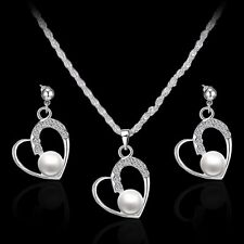 Women White Pearl Rhinestone Crystal Pendant Necklace Chain Earrings Jewelry Set