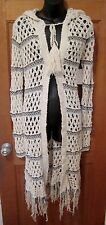FREE PEOPLE Hooded Crocheted Ivory Sweater, NEW WITH TAGS, size XS