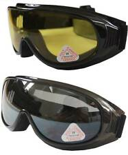Ski/Motors/Sky Diving Goggle put/cover/wear over Rx glasses-Smoke & yellow lens