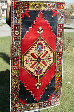 Antique 1900-1930s 2'8''x5'1'' Vegy Dyes Tribal Wool Pile Rug Turkey