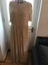 ASOS Salon Heavy Embroidered Beaded Cream Maxi Dress UK Size 18