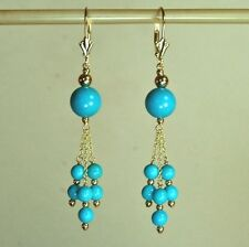 14k solid yellow gold 8mm & 4mm sky blue Turquoise earrings leverback 14.5 tcw