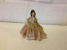 Vintage Antique German Dresden Miniature Porcelain Lace Figurine of Woman w Book