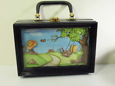 3D SHADOW BOX BLACK WOOD PURSE WITH ART PRINT - 1970s - ANTON PIECK (?)
