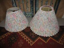 LAURA ASHLEY QUARTET PINK BLUE GREEN FLORAL (PAIR) PLEATED LAMPSHADES