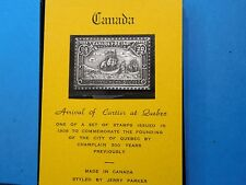 CANADA ARRIVAL OF CARTIER AT QUEBEC SHIP ANTIQUE 999 SILVER BAR STAMP COMMEN #B