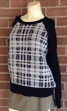 NWT Banana Republic Merino Wool Plaid Front Center Pullover Sweater Black L