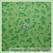 BonEful Fabric FQ Cotton Quilt Green Xmas Ice Skate Knit Hat Gloves Scarf Basket