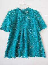 NEW ANTHROPOLOGIE Lace Mockneck Tee 2 XS by HD in Paris Teal