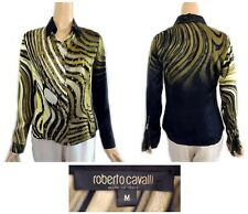 Roberto Cavalli Italy Multi Colored Silk Blouse With Zip Sleeves M