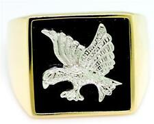 White Eagle Design Onyx 9ct 9K Solid Gold Gents Mens Ring
