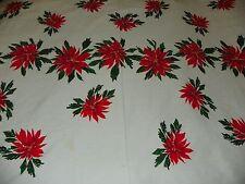 "Vtg Vera Neumann Christmas Poinsettia Tablecloth 59"" X 102"" 155 cm X 260 cm"