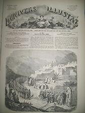 SYRIE RUINES DEIR-EL-KAMAR MESSE MILITAIRE AFRIQUE TRIBU BAKOBAS GRAVURES 1860