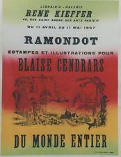 """""""BLAISE CENDRARS par RAMONDOT / EXPO 1967"""" Affiche originale entoilée 54x70cm"""