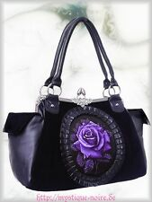 Victorian Handbag Granny bag purple Rose Lace Gothic black Velvet Goth