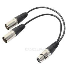 2 in1 3pin XLR Female jack to dual 2 3pin XLR Male plug Y Spliter Cable adaptor