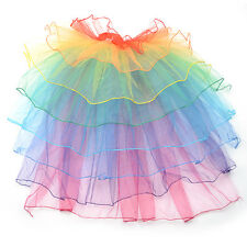 8 Layers Rainbow Tutu Skirt Half Bustle Burlesque Neon Rave Party Dance Clubwear