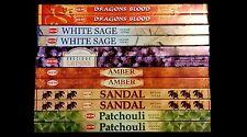 Dragons Blood White Sage Sandal Amber Patchouli Lavender 96 HEM Incense Sampler