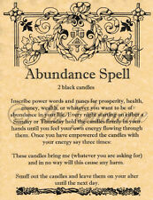 Book of Shadows Spell Page, ABUNDANCE SPELL, Wicca, Witchcraft, BOS