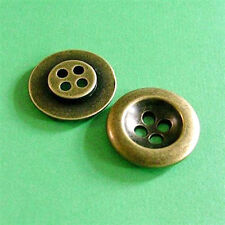 10 Large Brass Metal 4 Holes Jacket Coat Clothing Sewing Buttons 23mm 36L G53