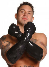 "21.5"" LATEX ELBOW LENGTH GLOVES long rubber men large full fore arm pair black"
