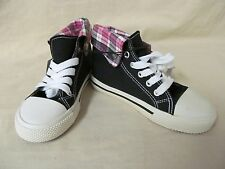 NWD Girl's Youth Size 1 M Black w/ Pink Plaid Hi-Top Lace Up Athletic Shoes