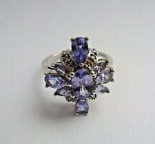 Gorgeous 1.5 ct Natural Tanzanite&Diamond 9K Solid White Gold Ring