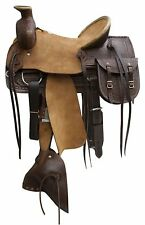 "16"" Blue River Roping Saddle With Rough Out Leather Hard Seat, Jockeys & Fenders"