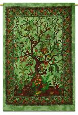 Tree Of Life Wall Hanging Indian Cotton Tapestry Poster Size Green Decor Throw