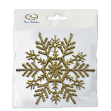 Christmas Hanging Decorations - SNOWFLAKE - Gold Festive Accessories Novelty