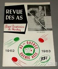 1962-63 AHL Quebec Aces Program Guy Rousseau Cover