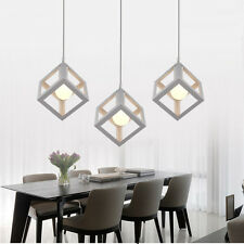 White Cube Metal Cage Pendant Lights Lamps Kitchen Bar Ceiling Fixtures Lighting