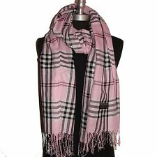 Hot New Blanket Tartan Scarf Wrap Shawl Plaid Cozy Checked Pashmina L Pink #P3