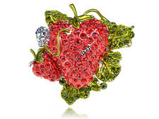 Lovely Plump Juicy Large Red Crystal Rhinestone Strawberry Fruit Adjustable Ring