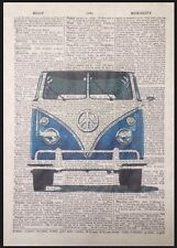 Campervan Print Vintage Dictionary Page Wall Art Picture Retro VW Blue Quirky