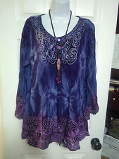 OS L XL 1X BOHO BOHEMIAN HIPPY GYPSY EMBROIDER SEQUIN TUNIC TOP BLOUSE LONG SLEE