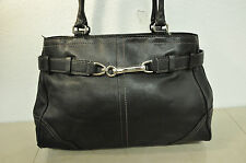 COACH 11200 HAMPTON BLACK LEATHER SATCHEL HANDBAG