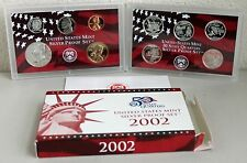 2002 United States Mint ANNUAL 10 Coin SILVER Proof Set with Coins COA and Box