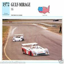 GULF-MIRAGE M6 1972 CAR VOITURE USA ETATS-UNIS CARTE CARD FICHE