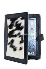 iPAD 2 3 & 4 Black Cow Skin Fur Luxury Real Genuine Leather Cover Case Stand
