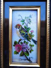 Early 1900s Lovely Limoge Enamel Copper Bird Cherry Flowers Blossoms Painting !