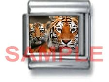 TIGER & CUB 9MM ITALIAN PHOTO CHARM LINK mother mama baby zoo animal